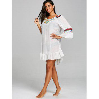 Crochet Panel Cover Up robe volantée - Blanc ONE SIZE