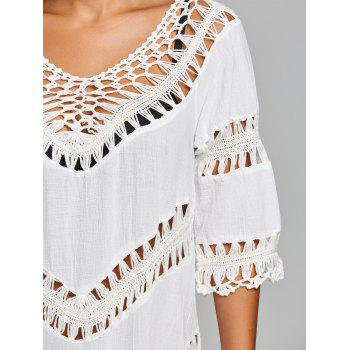 Crochet Panel Beach Cover Up Top - WHITE ONE SIZE