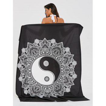 Rectangle Sunbath Tai Chi Beach Throw - WHITE/BLACK ONE SIZE