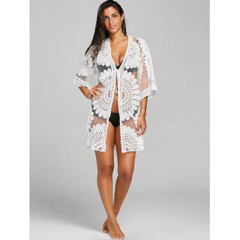 Embroidered See Thru Beach Cover Up - WHITE WHITE