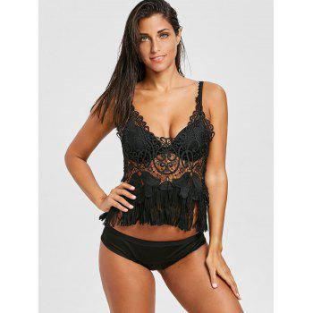 Beach Crochet Fringed Cami Top - BLACK ONE SIZE