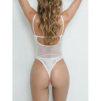 Lace See Through Plunge Thong Bodysuit - WHITE S