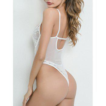 Lace See Through Plunge Thong Bodysuit - WHITE M