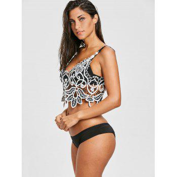 Openwork Crochet Beach Cami Top - BLACK WHITE ONE SIZE