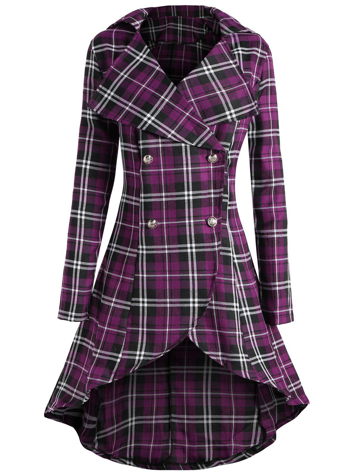 Double Breasted Plus Size Plaid Coat plus size double breasted plaid swing coat