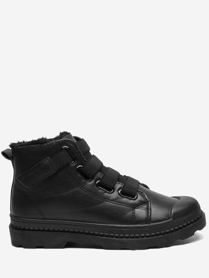 Hook and Loop Cold Weather Boots - LEATHER BLACK 43