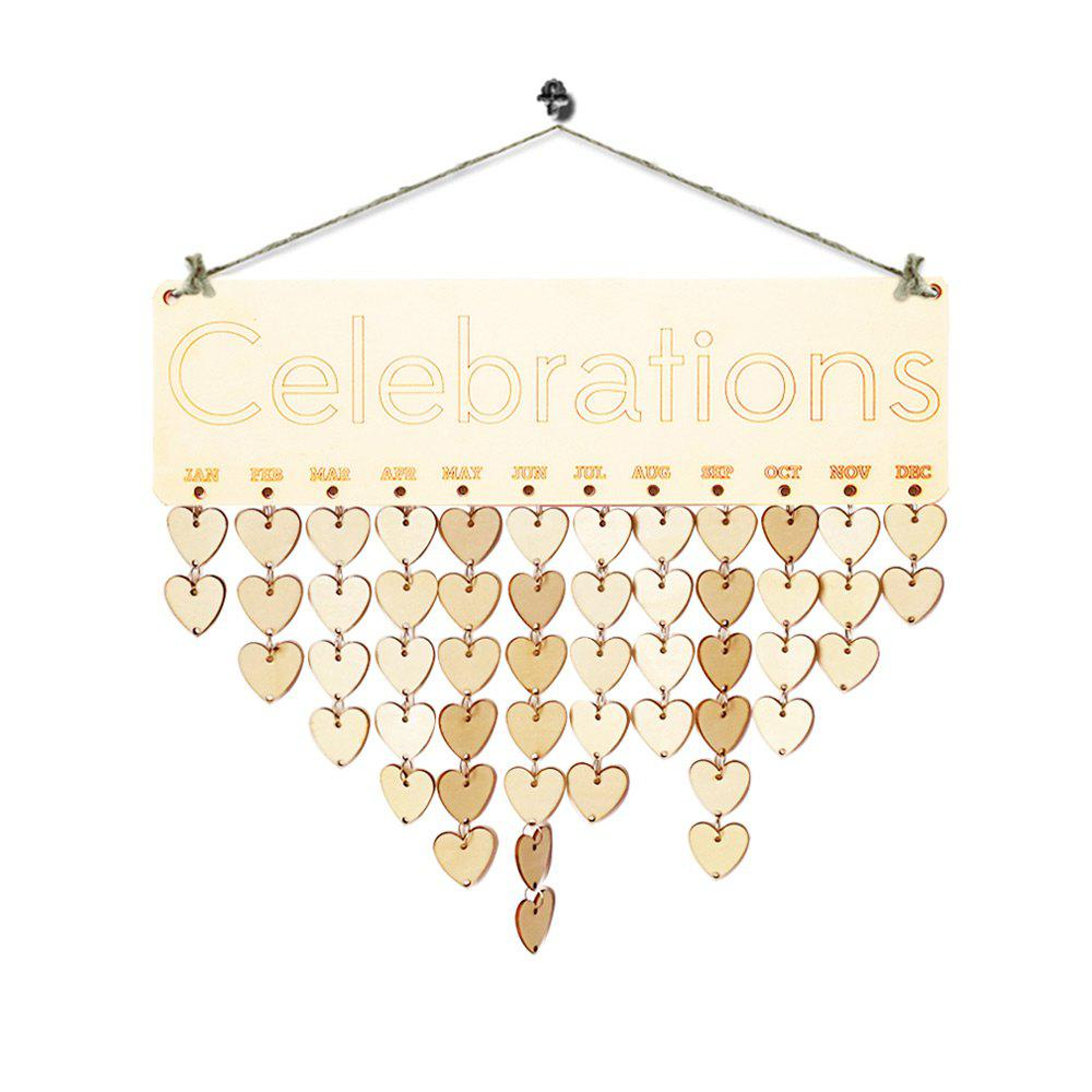DIY Wooden Celebration Days Birthday Calendar Board - HEART