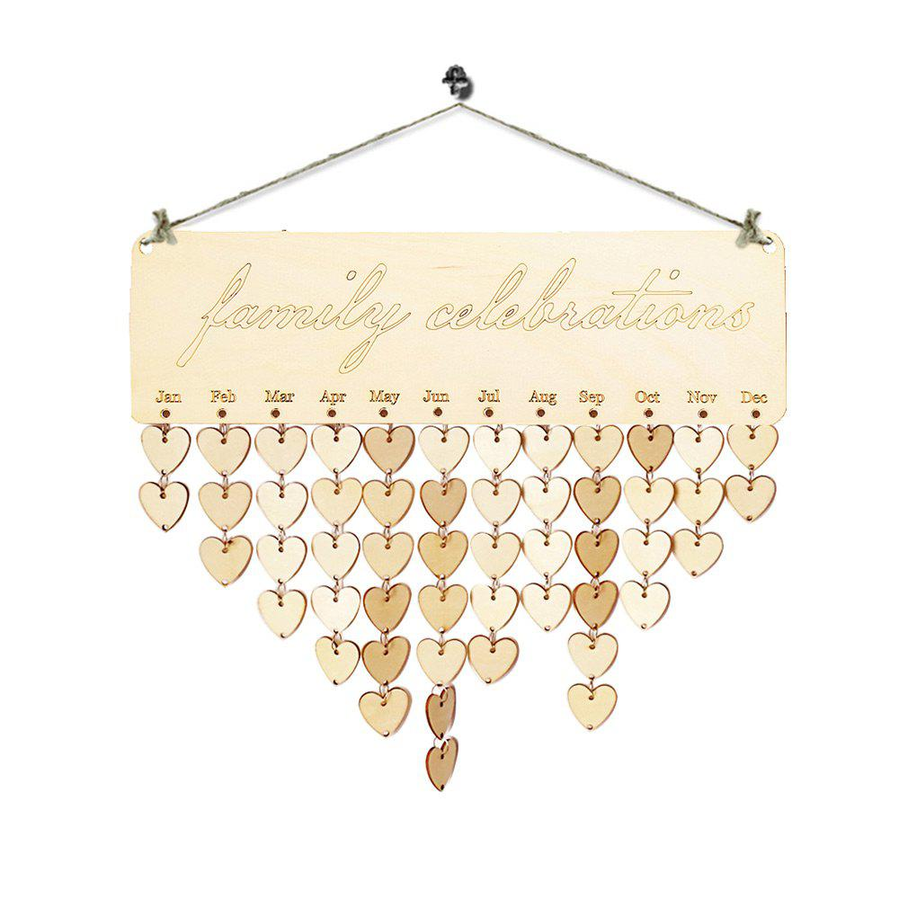 DIY Wooden Family Celebrations Birthday Calendar - HEART