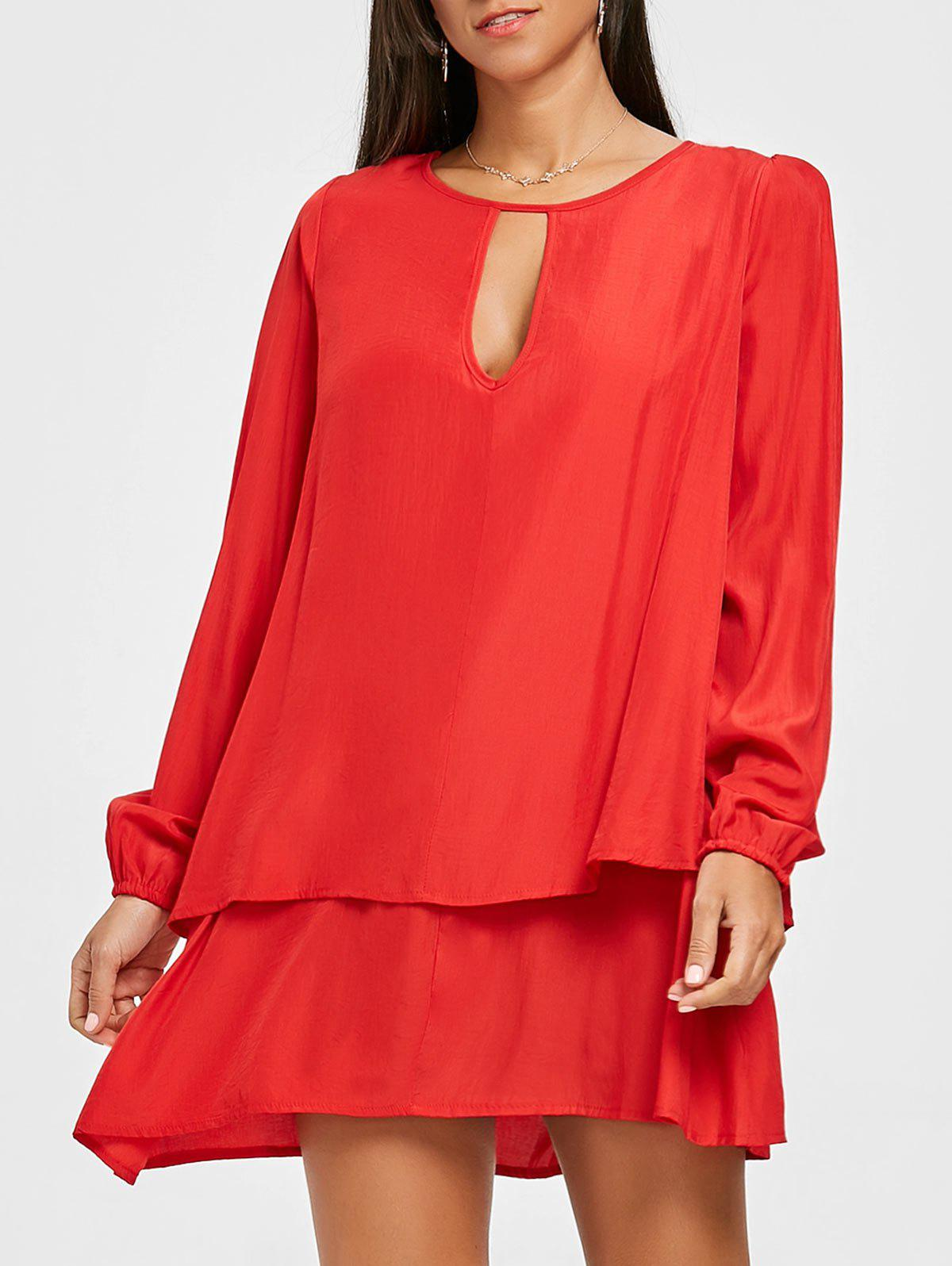 Long Sleeve Front Cut Out Layered Dress - RED 2XL