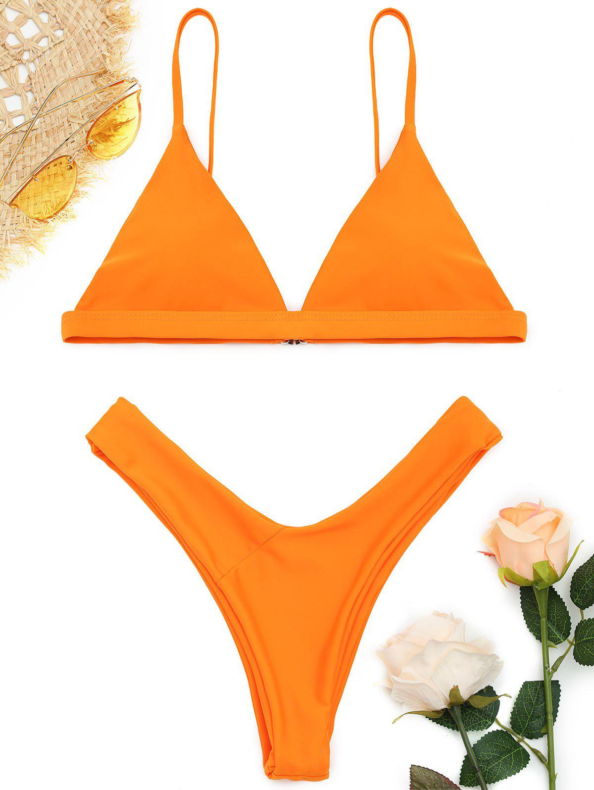 Ensemble de Bikini Doux à Bretelle Fine - Orange S