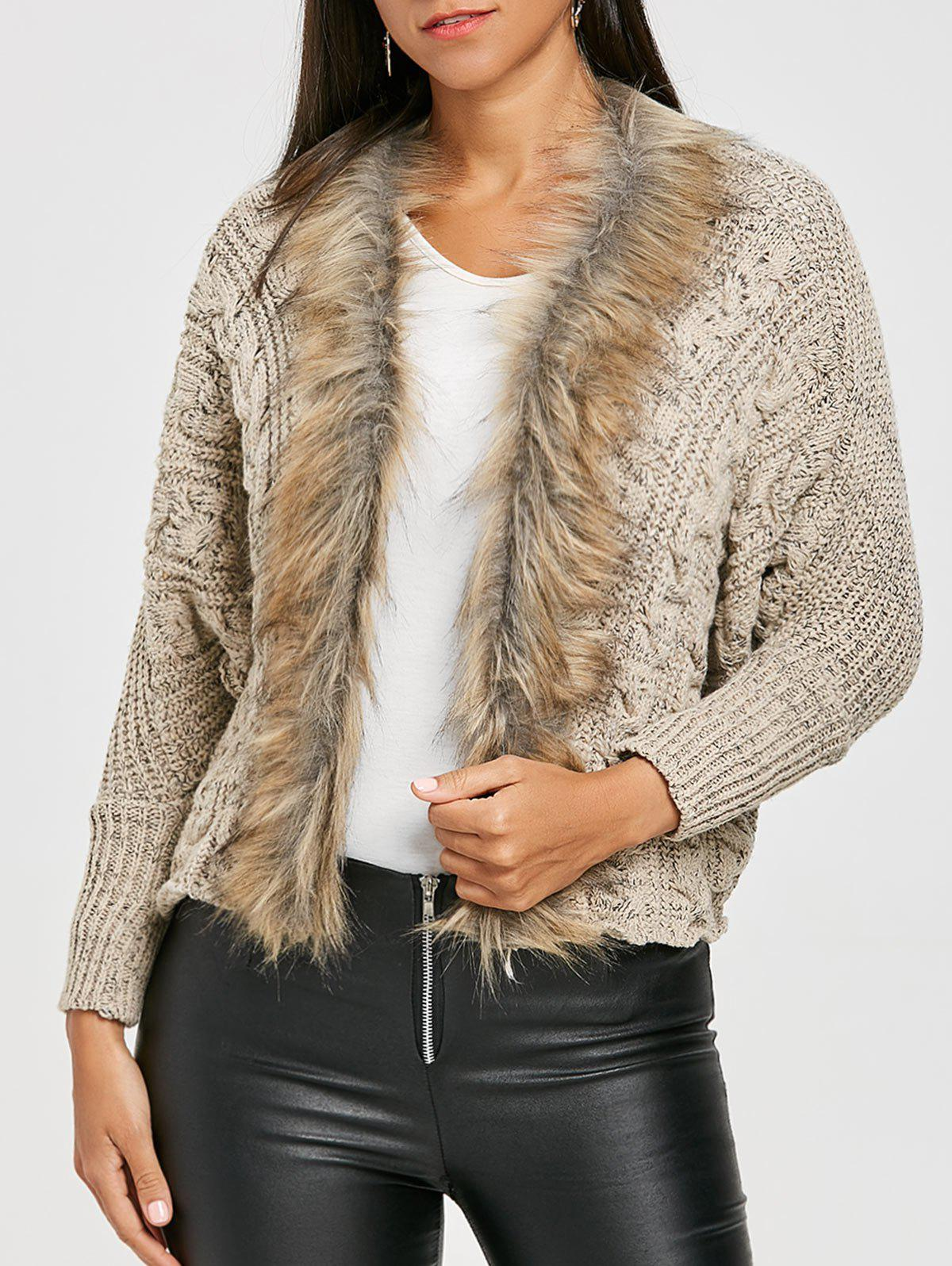Faux Fur Trimmed Batwing Sleeve Cardigan - BEIGE ONE SIZE