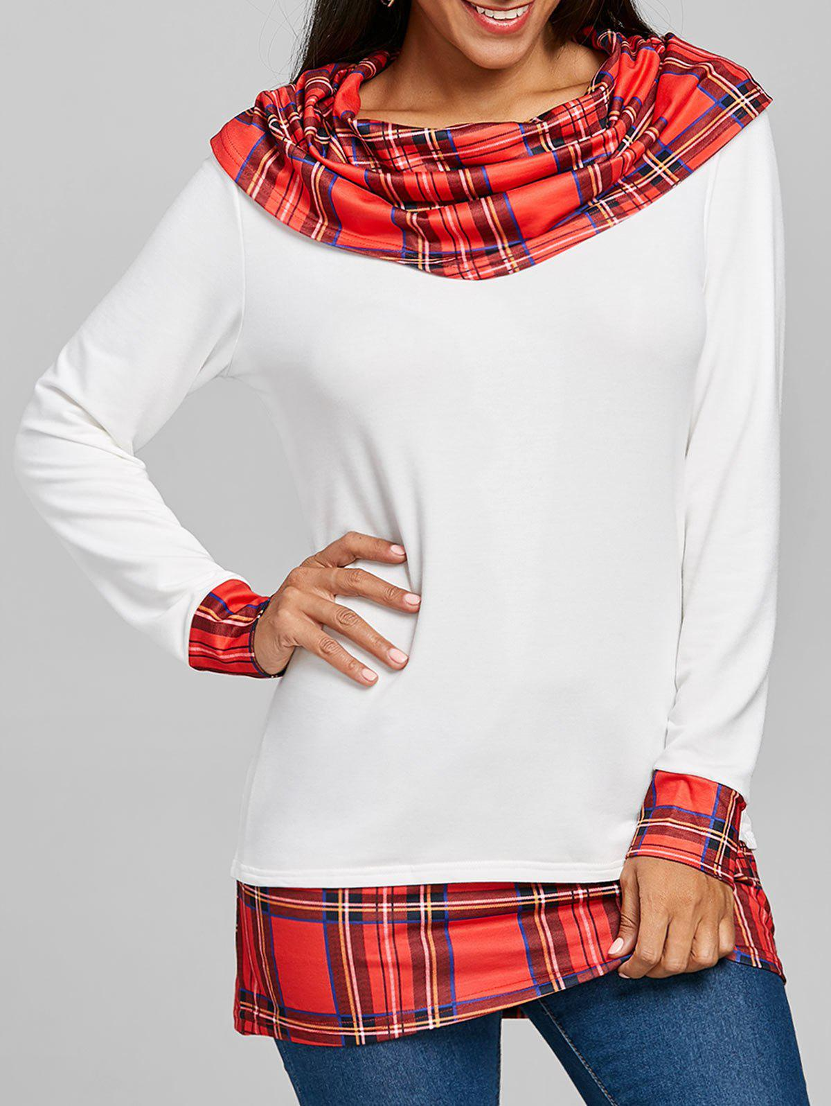 Cowl Neck Plaid Panel Tunic Top marled plaid cowl neck top
