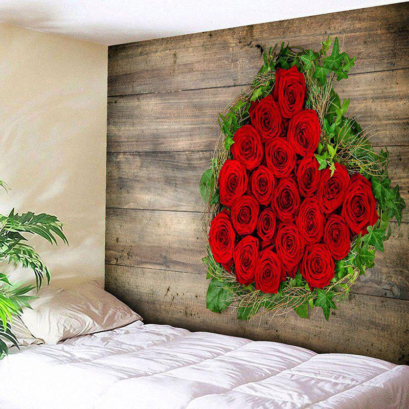 Valentine's Day Roses Wood Grain Wall Decor Tapestry цена 2017