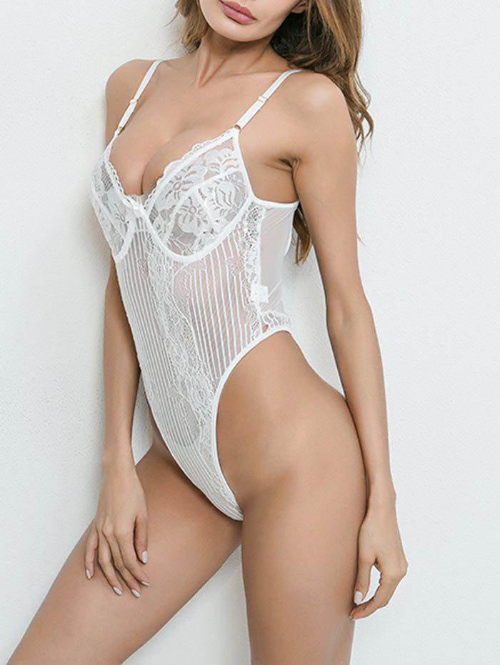 Dentelle See Through Grunge String Body - Blanc S