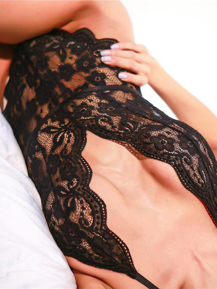 Backless High Cut Lace Sheer Bodysuit - BLACK S