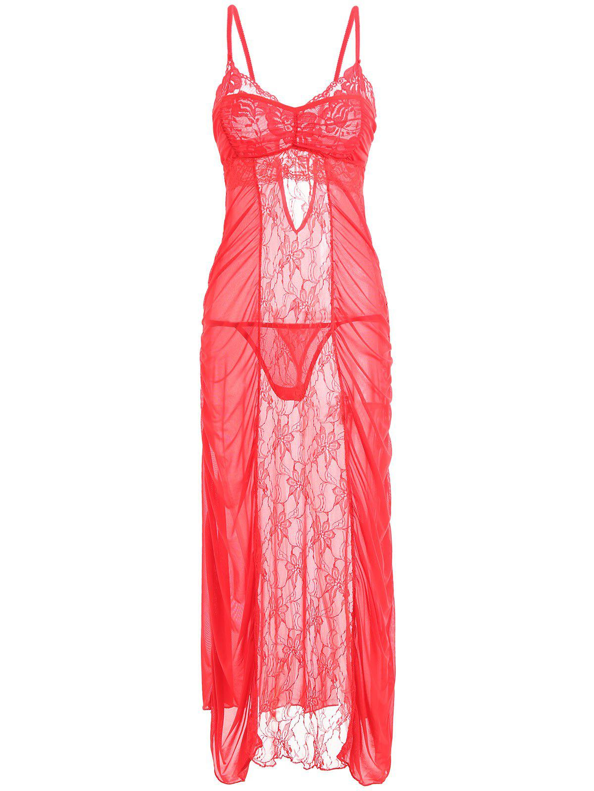 Ruched Lace Mesh Long Slip Dress - RED ONE SIZE