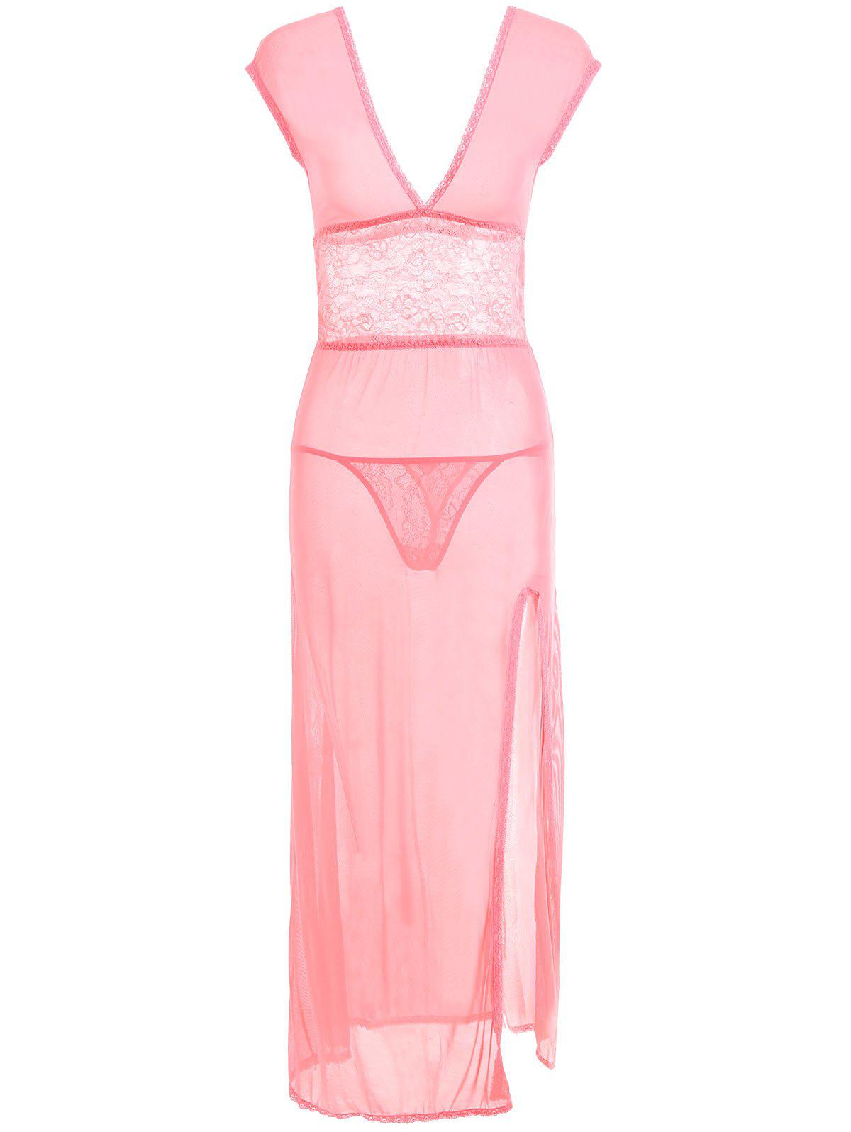 Plunge Neck Mesh Long Slit Dress - PINK ONE SIZE