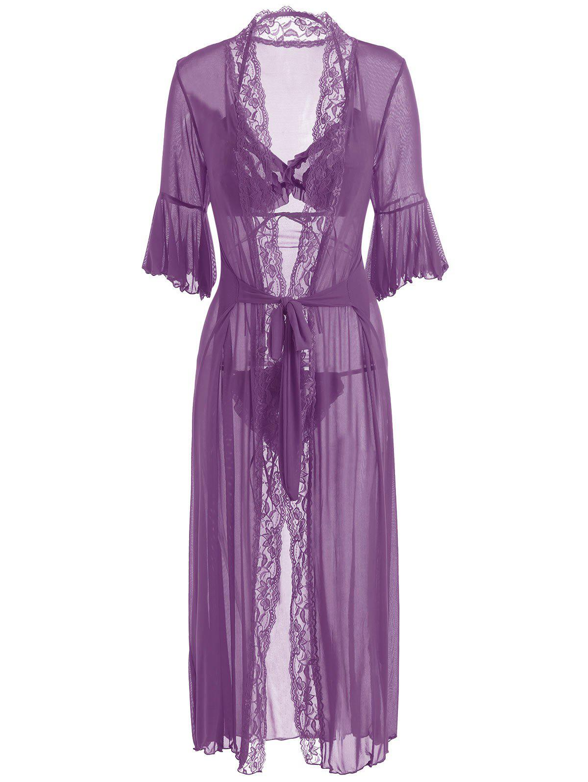 Ruffles Bralette Set with Maxi Wrap Dress - PURPLE ONE SIZE