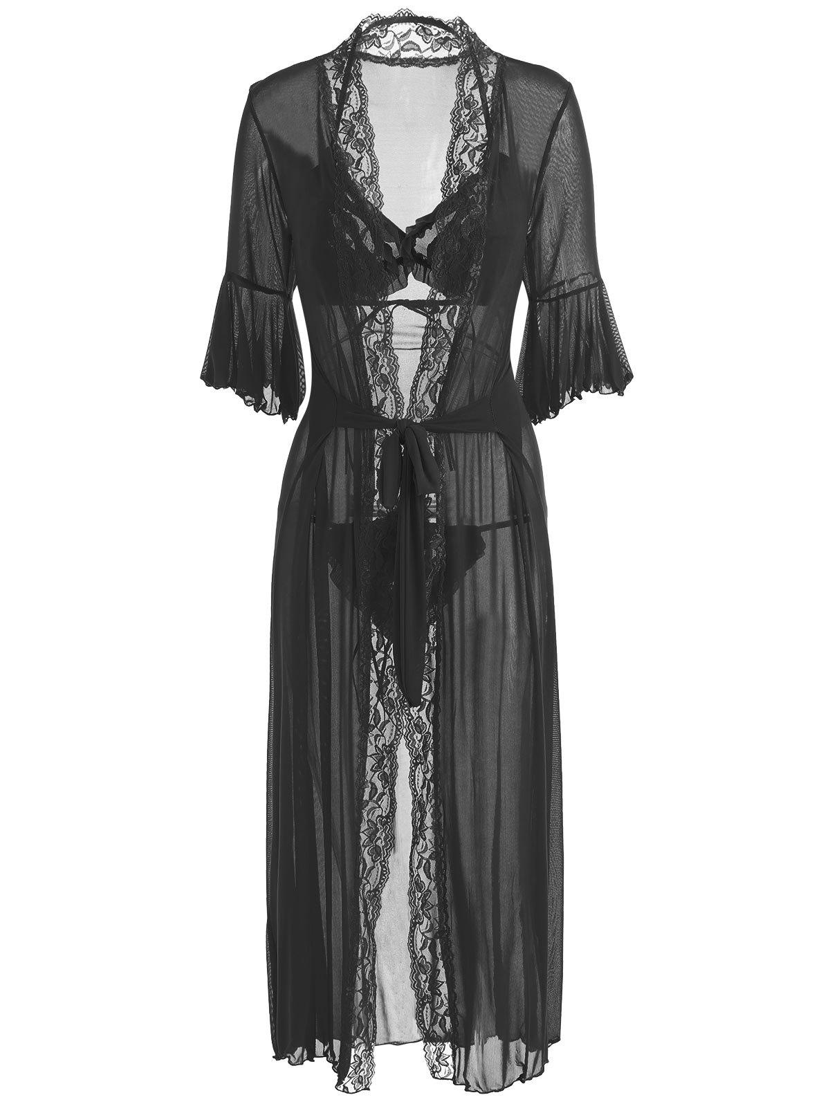 Ruffles Bralette Set with Maxi Wrap Dress - BLACK ONE SIZE