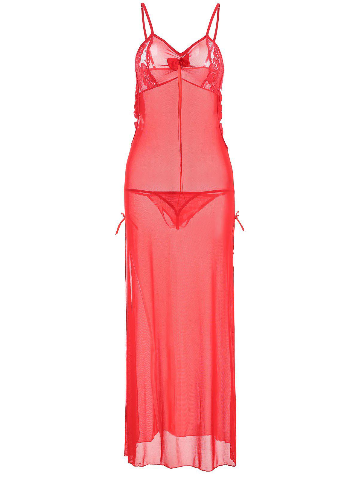 Slit Mesh Sheer Long Cami Babydoll - RED ONE SIZE