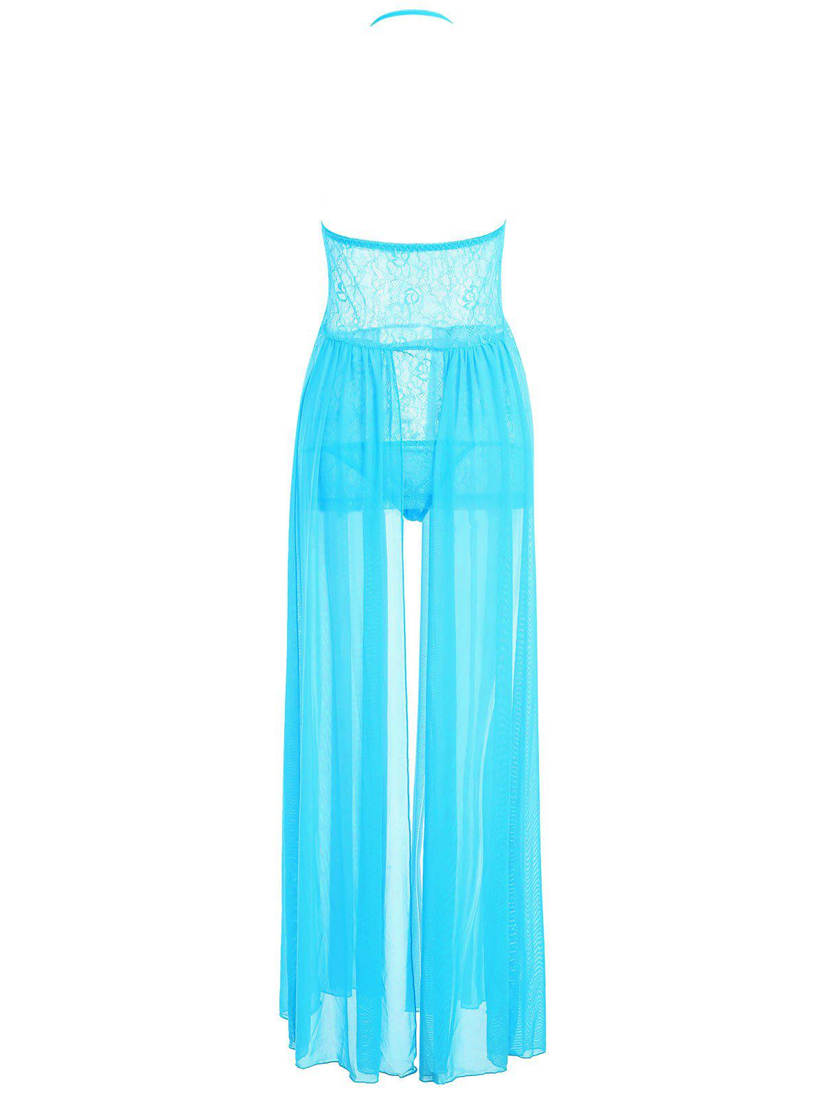 Mesh Sheer Overlay Lace Long Dress - BLUE ONE SIZE