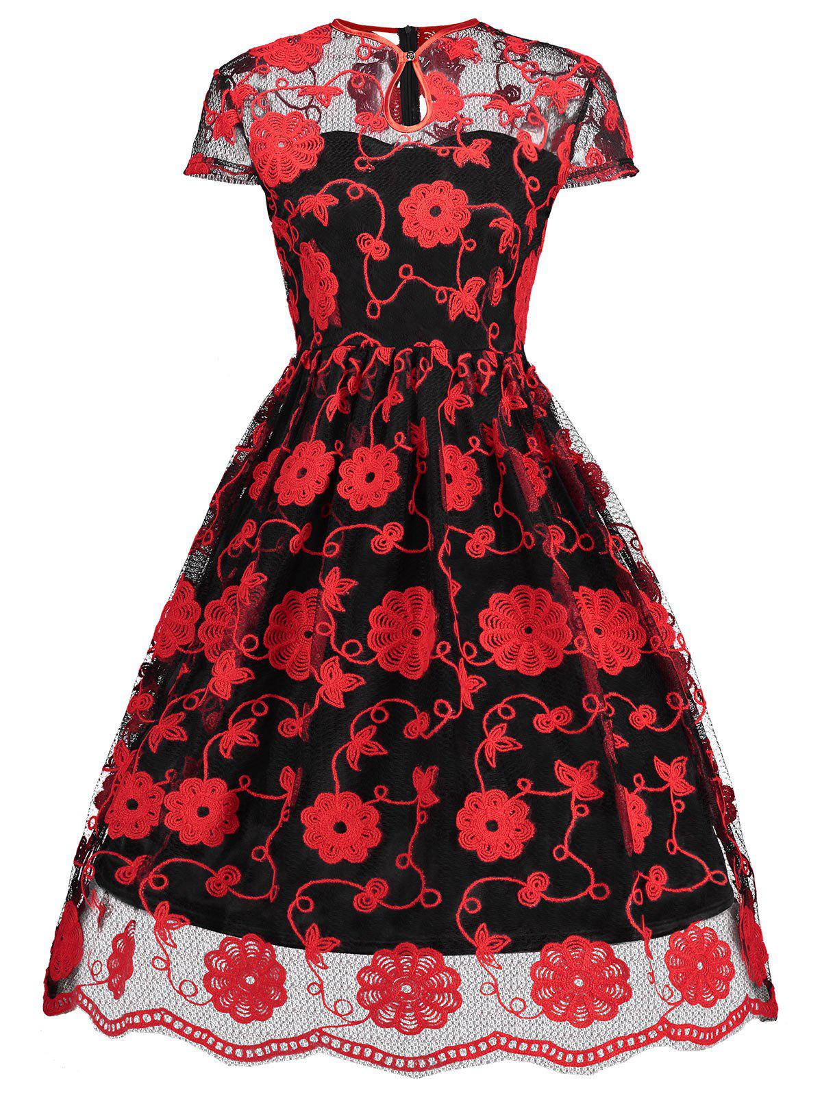 Keyhole Mesh Embroidered Vintage Dress - RED/BLACK S