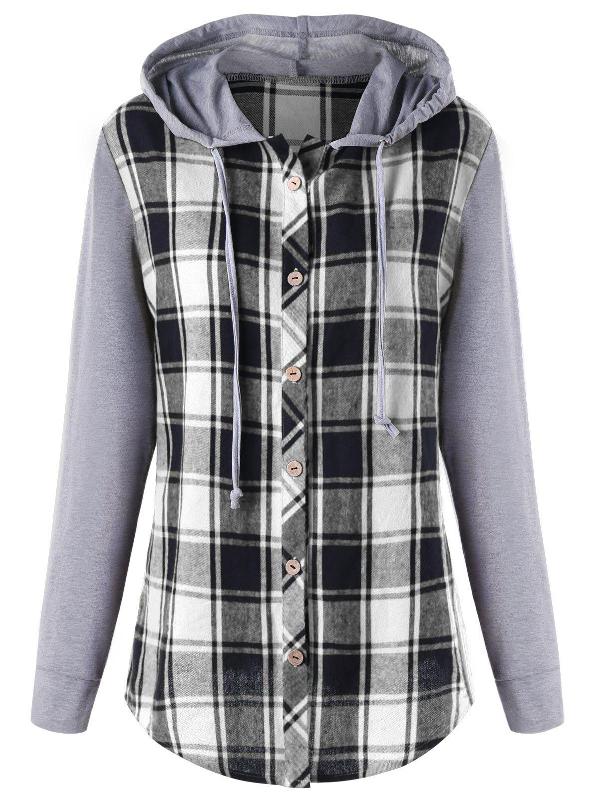 Plus Size Plaid Panel Long Sleeve Hooded Top