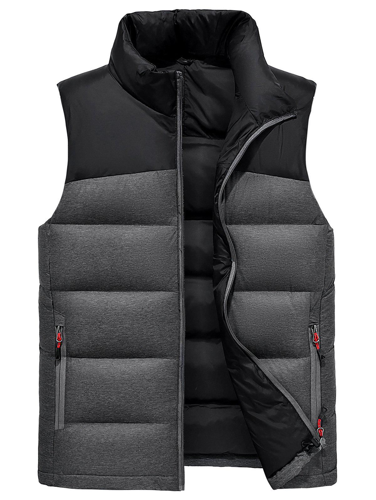 Zip Up Color Block Down Waistcoat - BLACK 3XL