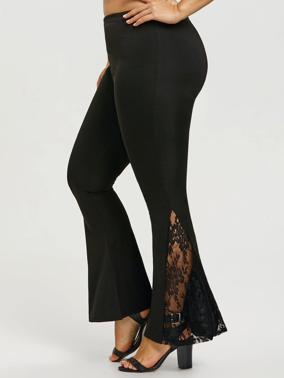 Plus Size Lace Panel  Flare Pants sheer lace panel plus size leggings