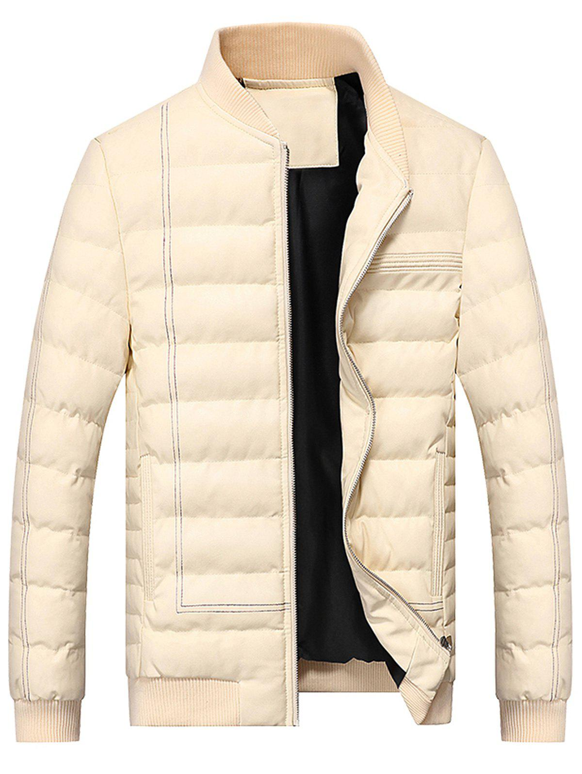 Zip Up Suture PU Leather Padded Jacket - OFF WHITE XL