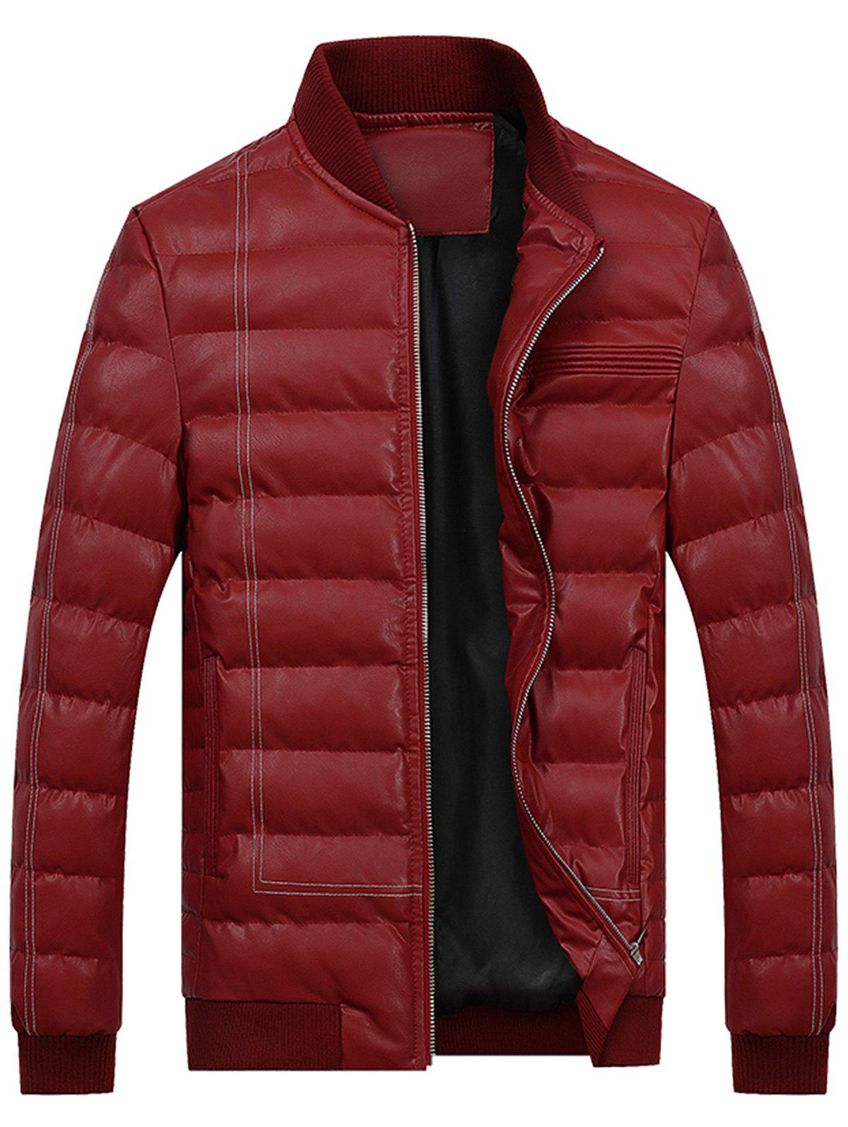 Zip Up Suture PU Leather Padded Jacket - WINE RED 3XL