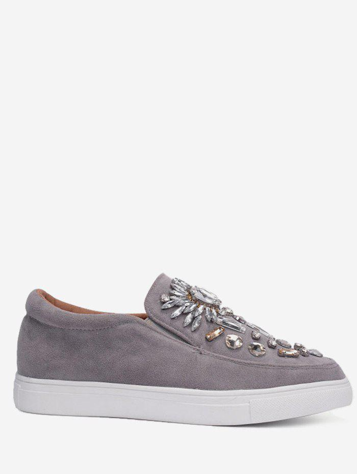 Faux Suede Slip On Embellished Sneakers - GRAY 37
