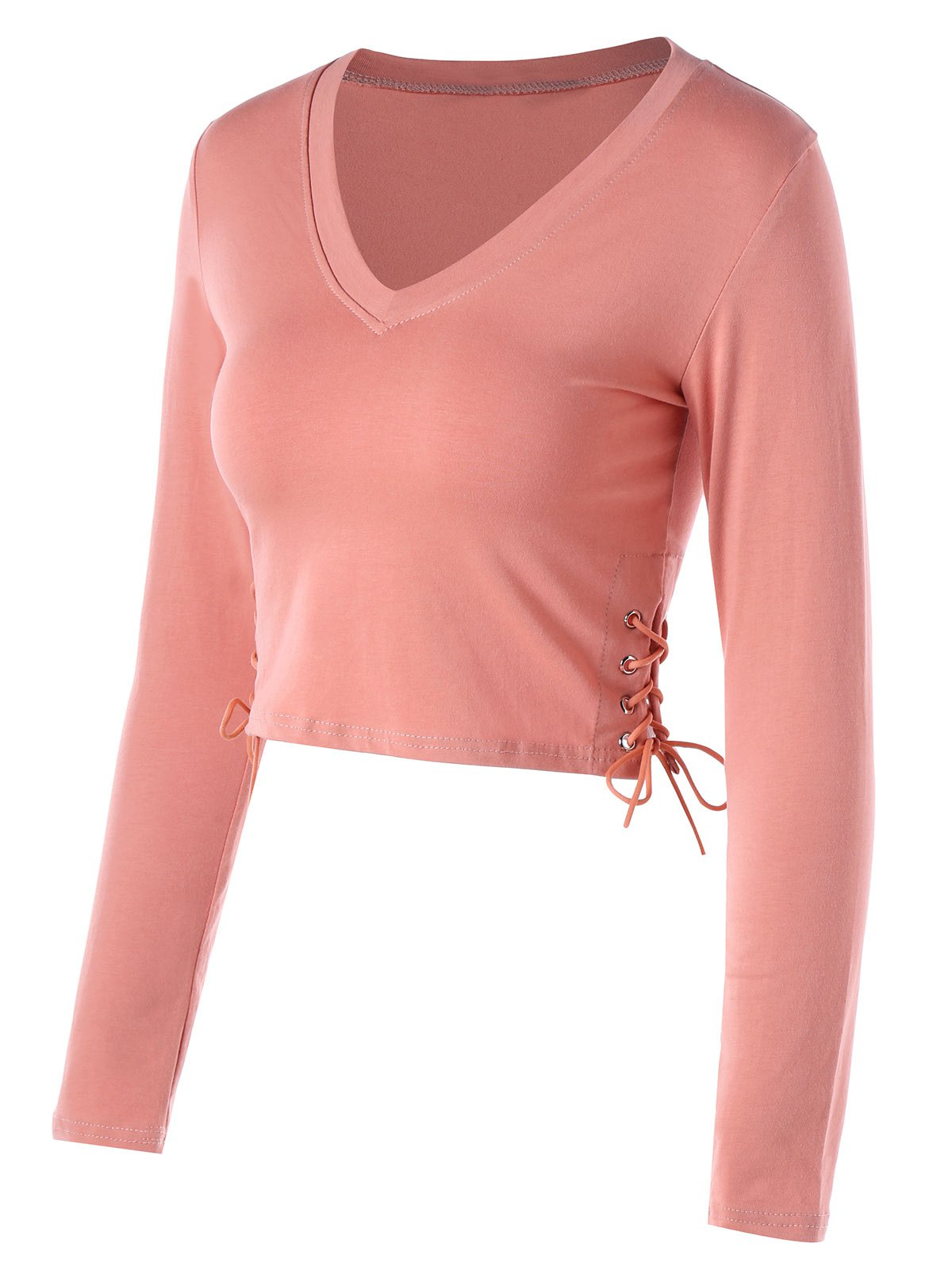 Side Lace Up Cropped Long Sleeve Top side lace up long sleeve knitwear