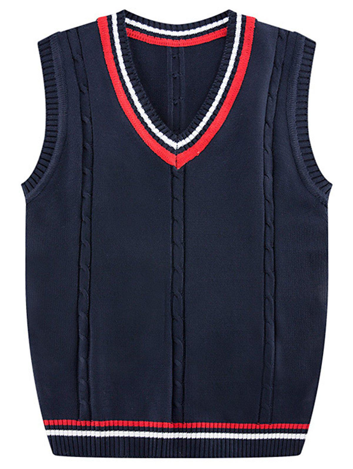 Stripe Ribbed Kink V Neck Knitted Vest - CERULEAN 2XL