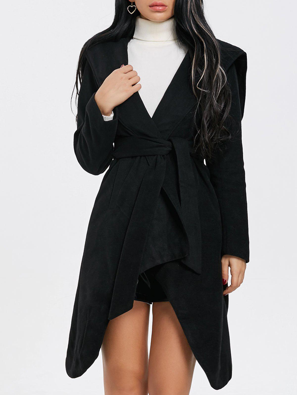 Hooded Belted Wrap Coat button tab cuffs hooded belted coat
