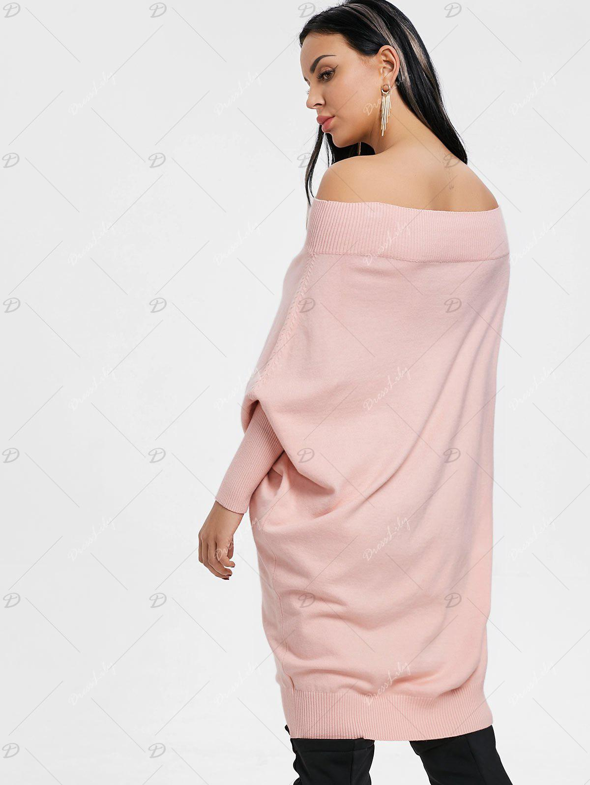 Kintted Off The Shoulder Batwing Sleeve Dress - PINK XL