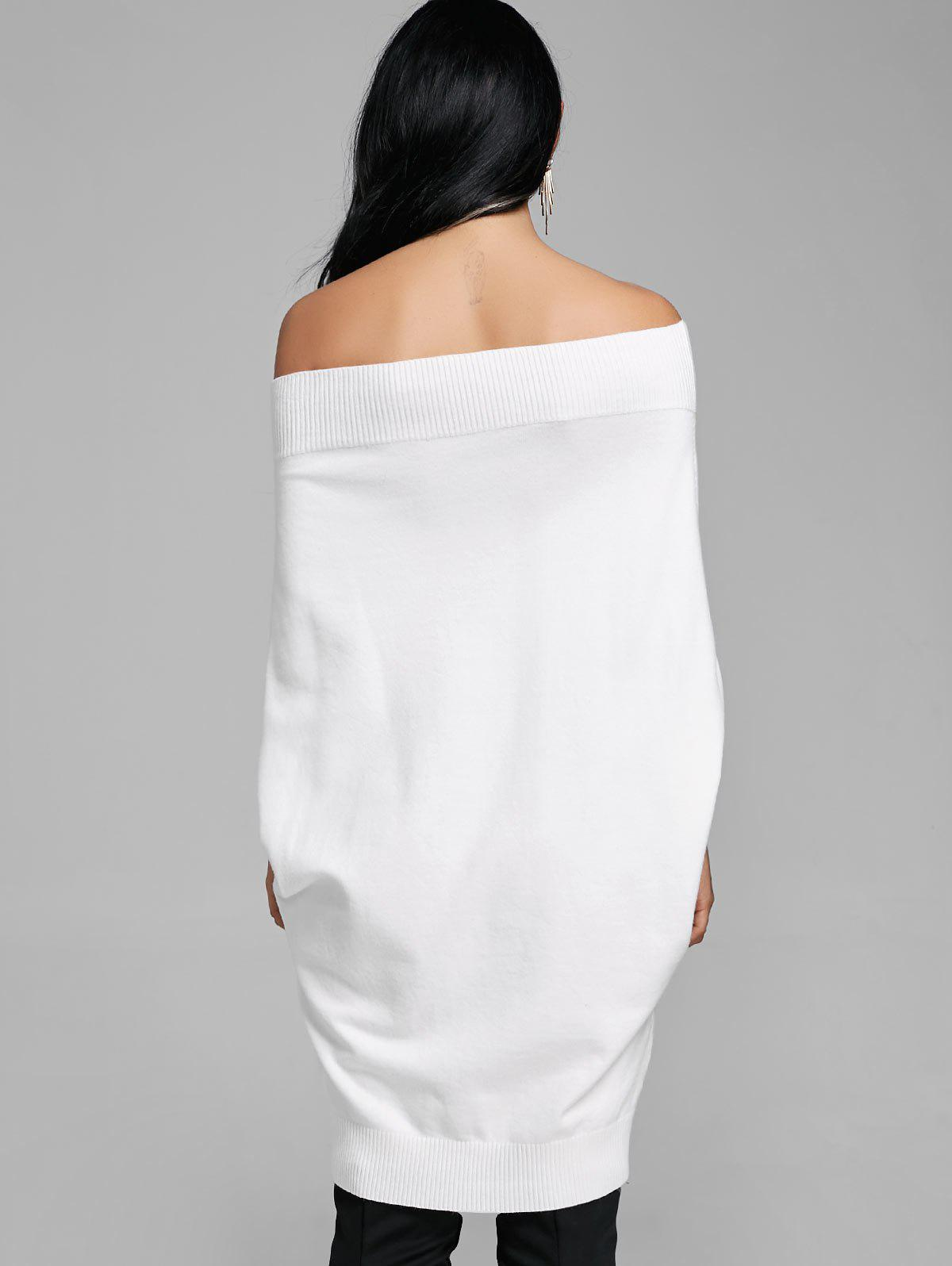 Kintted Off The Shoulder Batwing Sleeve Dress - WHITE M