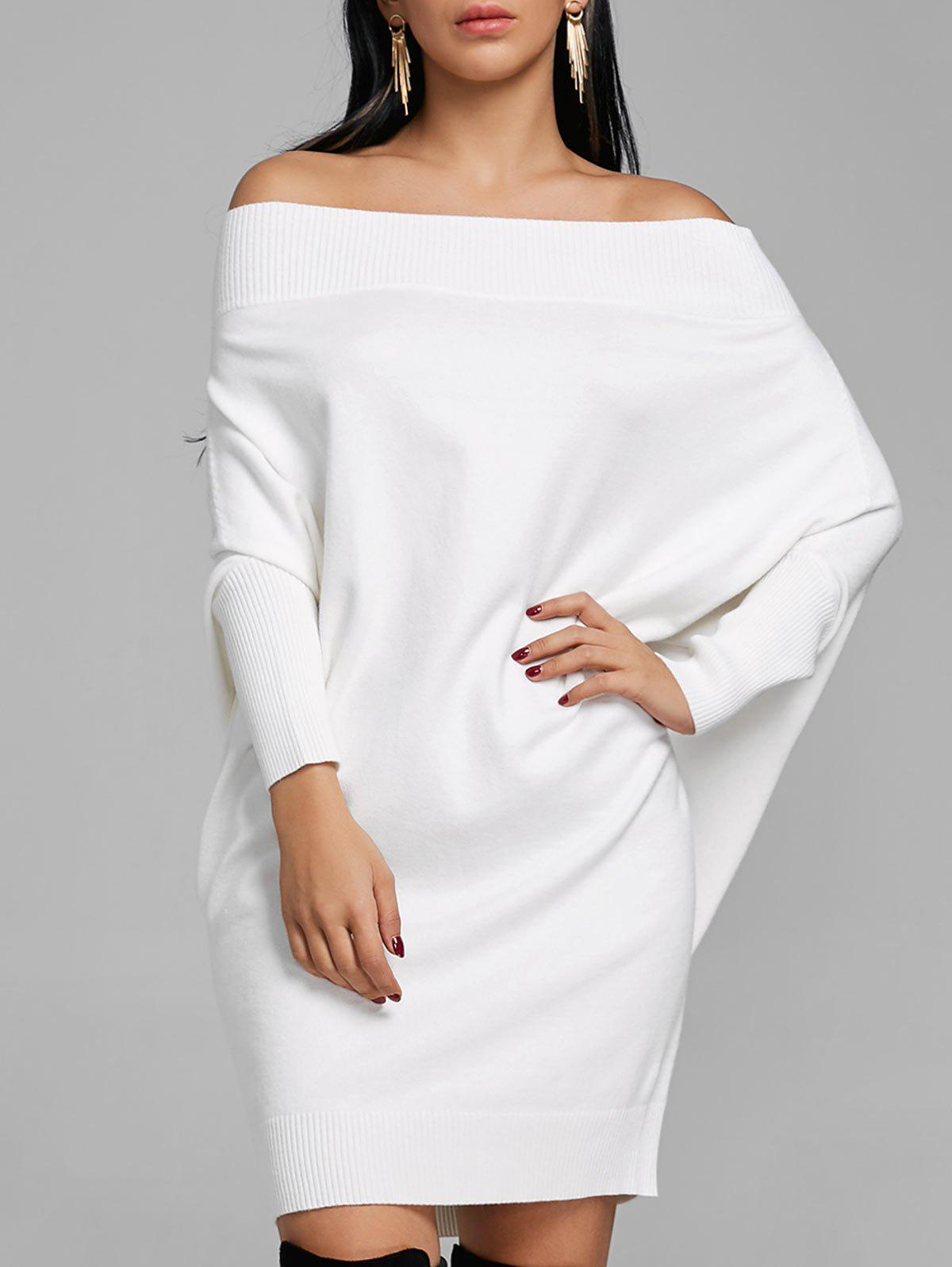 Kintted Off The Shoulder Batwing Sleeve Dress - WHITE XL