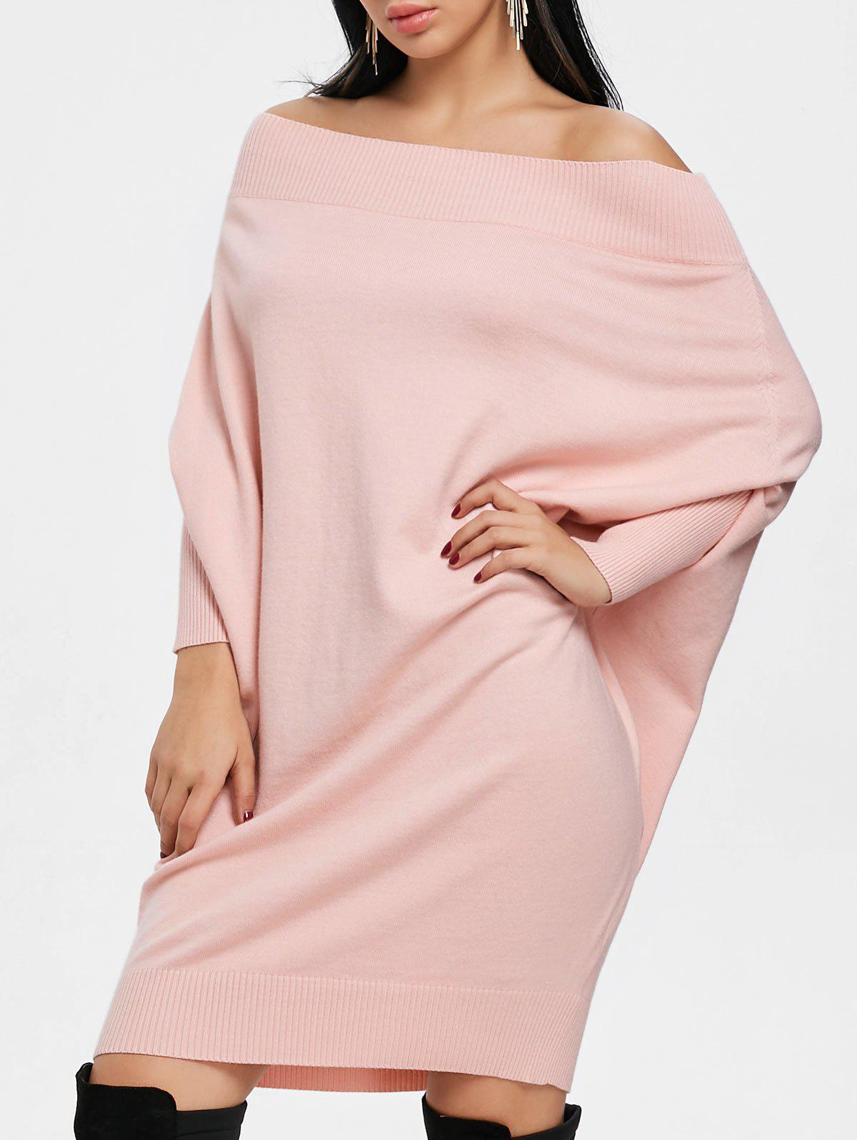 Kintted Off The Shoulder Batwing Sleeve Dress - PINK M