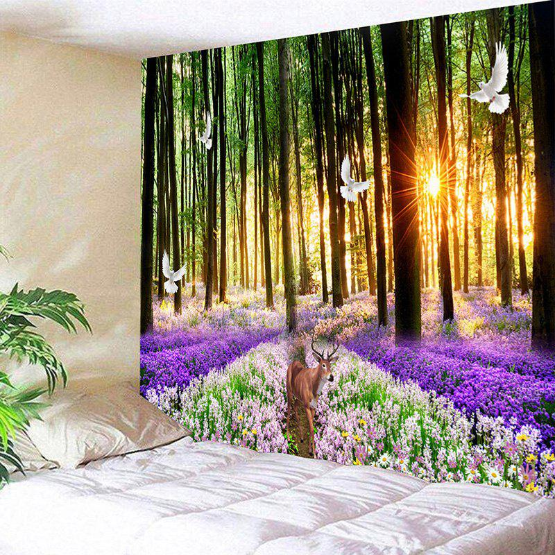 Forest  Deer Flower Sea Printed Wall Tapestry forest management