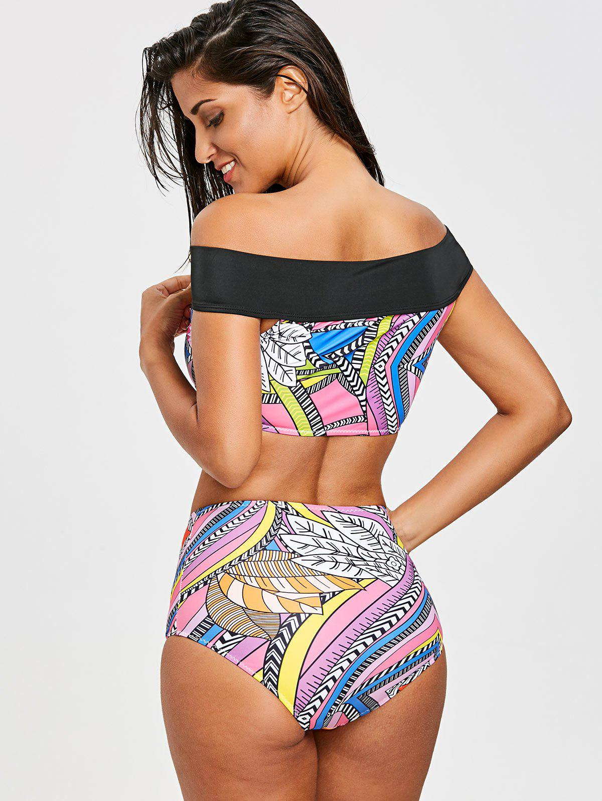 Tribal Off The Shoulder Bikini Top and Bottom Set - COLORMIX S