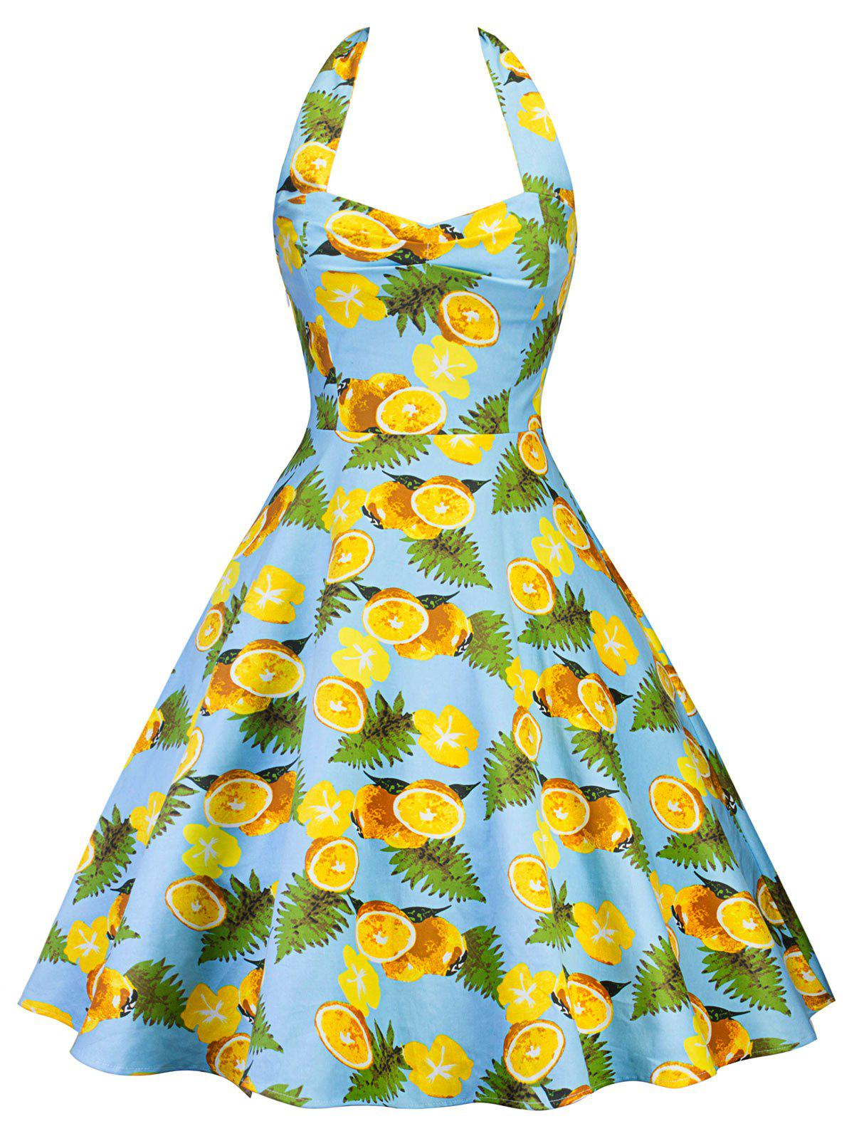 Vintage Lemon Print Halter Pin Up Dress vintage halter neck lemon print dress for women
