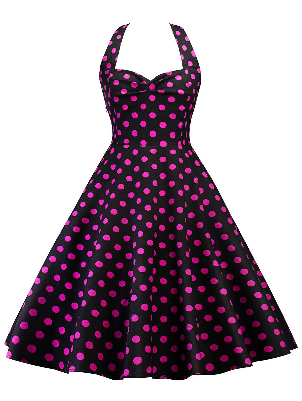 Vintage Halter Backless Polka Dot Pin Up Dress polka dot lace up halter a line dress