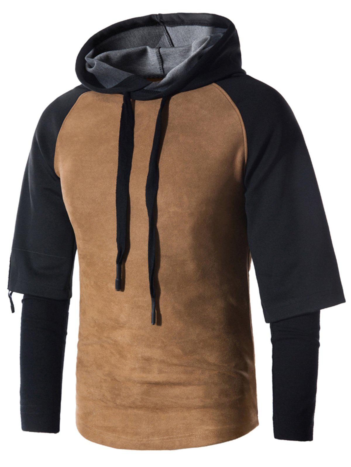 Faux Twinset Drawstring Suede Panel Pullover Hoodie - BROWN L