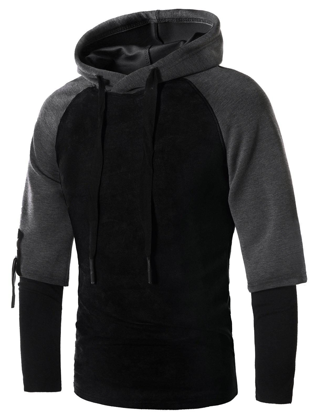 Faux Twinset Drawstring Suede Panel Pullover Hoodie - BLACK L