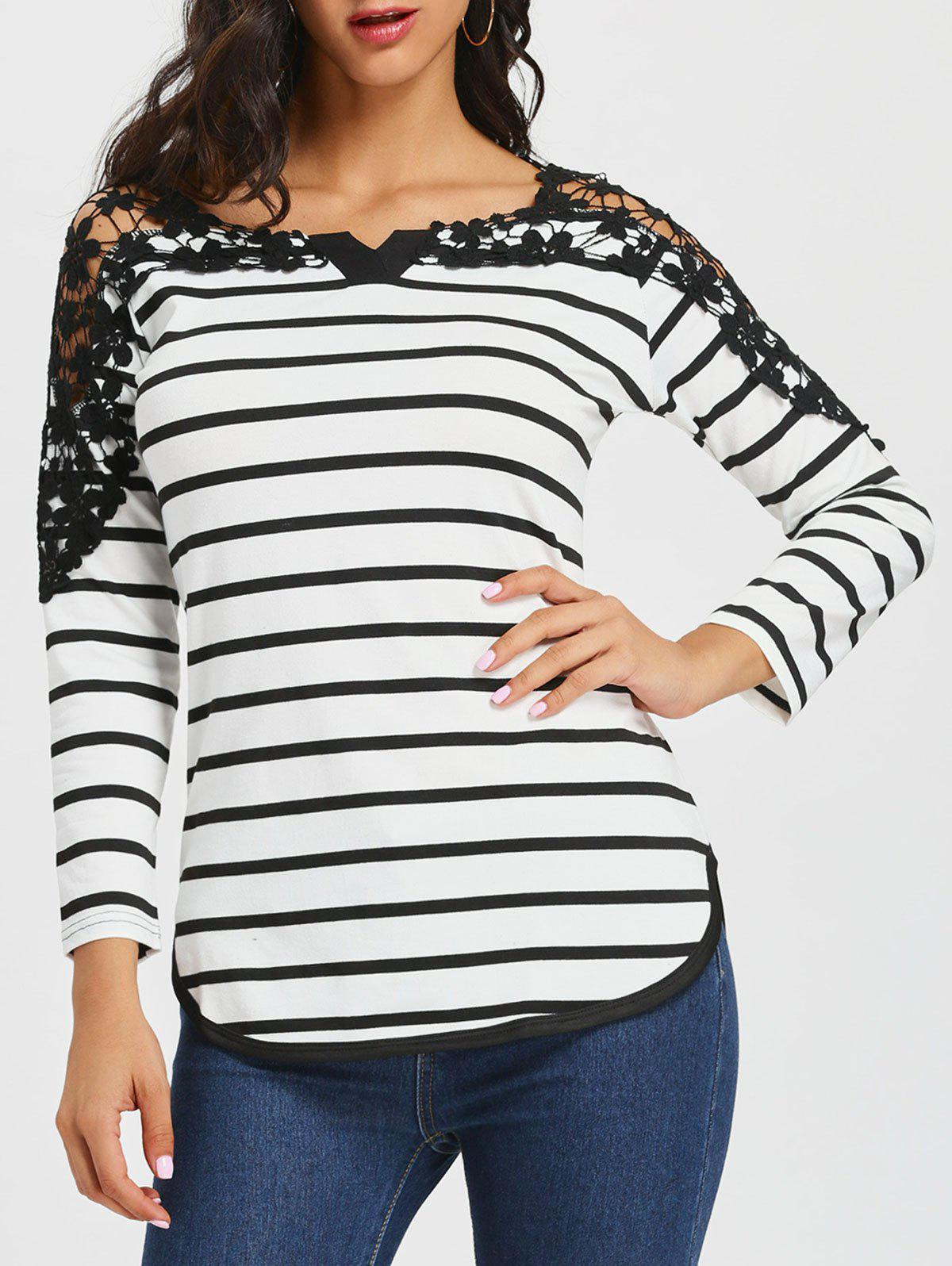 Long Sleeve Lace Panel Striped T-shirt lace up long sleeve striped t shirt