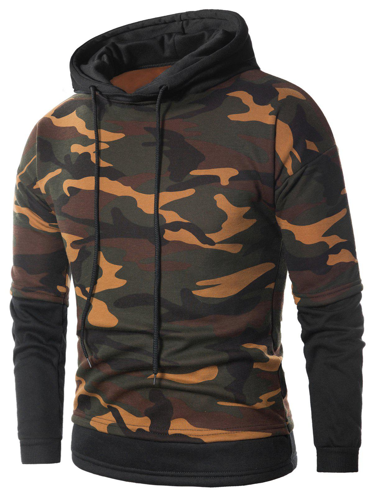 Faux Twinset Fleece Camouflage Pullover Hoodie - ACU CAMOUFLAGE 4XL