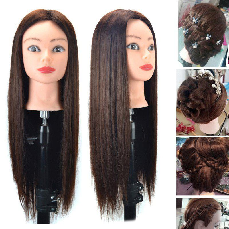 Head Mannequin Clamp Synthetic Long Straight Wig For Practice Training - CHESTNUT COLOR