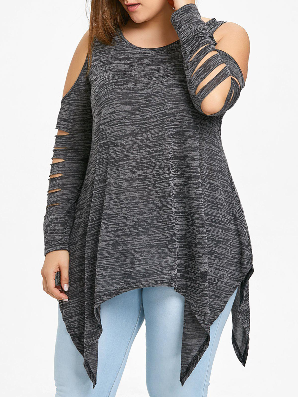 Plus Size Shredding Cold Shoulder Tunic Top