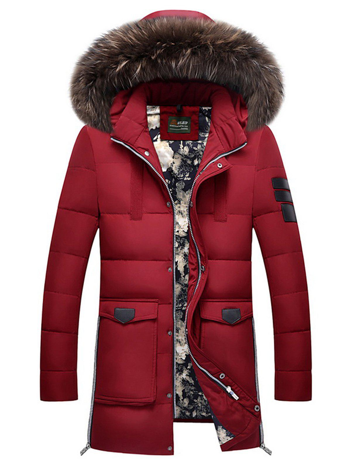 Faux Fur Detachable Hooded Zip Up Pockets Down Coat winter baby kids girls down coat clothes with faux fur hooded thicken parkas outerwear warm children girl cat printed down coat